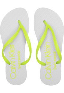 Chinelo Calvin Klein Neon Branco/Verde