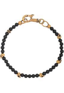 John Varvatos Bracelete Com Contas E Caveira - Preto
