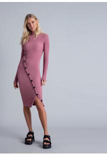 Vestido Gola Alta Recorte Botões Bordo Cashemir - Lez A Lez