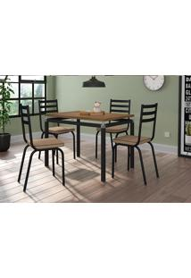 Conjunto Mesa Retangular Artefamol Malva Com 4 Cadeiras Com Assento.