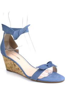 Sandália Emporionaka Anabela Nobuck Feminina - Feminino-Azul