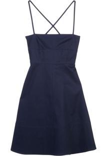 Proenza Schouler White Label Vestido Com Alças Posteriores Cruzadas - Azul