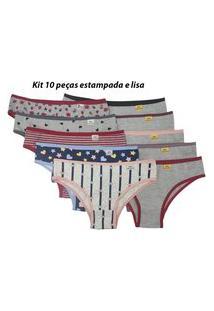 Kit 10 Calcinhas De Algodáo Lisa E Estampada Ref 090