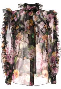Dolce & Gabbana Blusa Translúcida Com Estampa Floral - Preto
