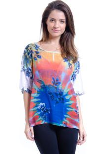 Blusa 101 Resort Wear Mangas Curtas Multicolorido Laranja