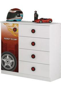 Comoda Infantil Sport Car 01 Porta 04 Gavetas Branco Moveis Estrela