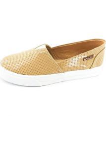 Tênis Slip On Quality Shoes Feminino 002 Verniz Bege Perfurado 36