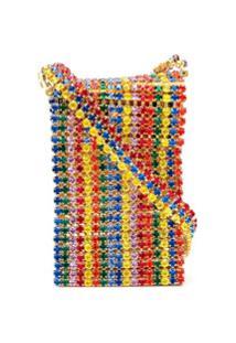 Area Rainbow Crystal Crossbody Bag - Dourado