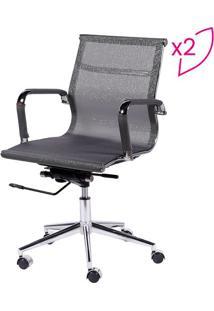 Jogo De Cadeiras Office Eames Em Tela- Cinza- 2Pã§S