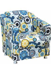 Poltrona Decorativa Lymdecor Laura Tecido Impermeabilizado Floral Amarelo
