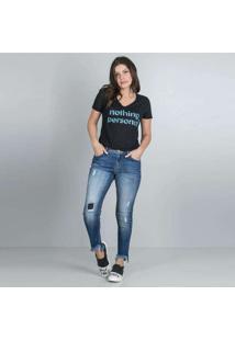 Calça Feminina Jeans Cigarrete Puídos Azul