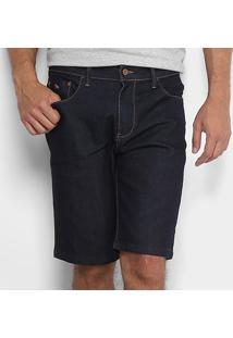 Bermuda Jeans Acostamento Lavagem Clássica Masculina - Masculino-Azul