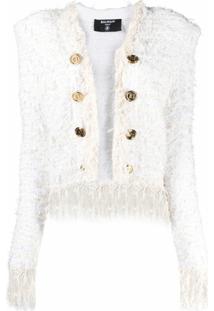 Balmain Jaqueta De Tweed Sem Colarinho Com Franjas - Branco