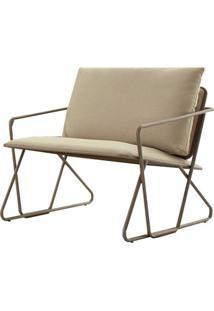 Poltrona Industrial Vaz Assento Estofado Bege Com Base Aco Ouro Envelhecido - 49475 - Sun House