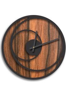 Relógio De Parede Premium Amadeirado Com Relevo Preto Ônix 50Cm Grande