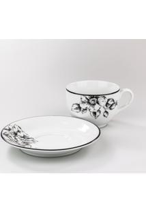 Conjunto De Xicaras Para Chá C/ Pires Porcelana Schmidt 06 Peças - Dec. Laura