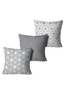 Kit 3 Capas Para Almofadas Decorativas Love Decor Geometrico Cinza