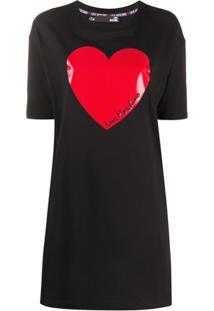 Love Moschino Vestido Reto Com Estampa De Coração - Preto