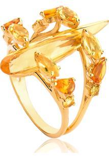 Anel De Ouro 18K Gota Alongada De Navete E Pedras De Citrino-Coleção Sunlight