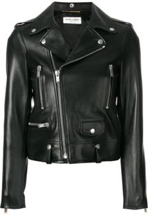 Saint Laurent Jaqueta Biker Cropped - Preto