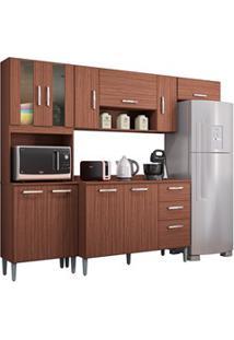 Cozinha Compacta 8 Portas Com Balcão Lavínia Capucino - Poquema