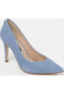 Scarpin Em Couro Com Tag- Azul Claro- Salto: 9,5Cmjorge Bischoff
