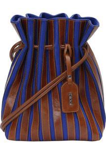 Bolsa Saco Sanfonada Em Couro - Marrom & Azul - 31X2Iã³Dice