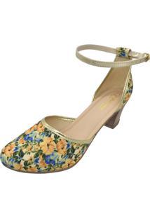 Sandália Romântica Calçados Salomé Floral Bege