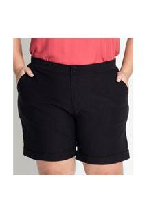 Shorts Feminino Plus Size Clássico Secret Glam Preto