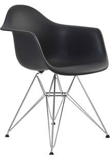 Cadeira Eiffel C/Braço Pp Preta Base Cromada Rivatti