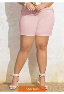Shorts Em Sarja De Algodão Rose Pó