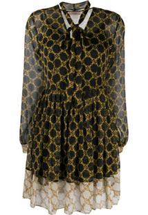 Twinset Vestido Evasê Com Laço Na Gola E Estampa De Corrente - Preto
