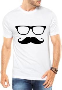 Camiseta Criativa Urbana Mustache Engraçadas Divertidas - Masculino-Branco