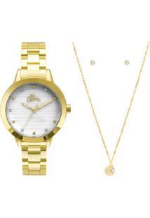 Kit Relógio Feminino Strass Allora Al2036Flvk4B