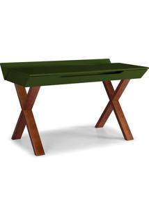 Escrivaninha Studio Cor Cacau Com Verde Escuro - 28951