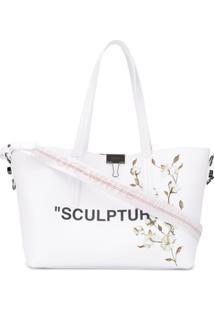 """Off-White Bolsa Tote """"Sculpture"""" De Couro - Branco"""