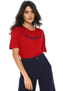 Camiseta Ana Hickmann Bordada Vermelha