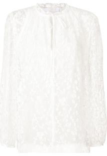 Chloé Blusa De Seda Com Renda - Branco