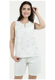 Pijama Feminino Short Doll Estampa Floral Sem Mangas Marisa