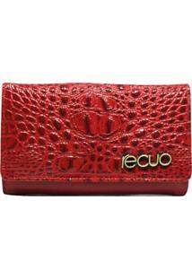 Carteira Em Couro Recuo Fashion Bag Cereja