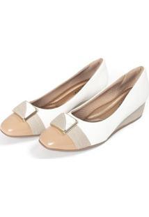 Sapato Piccadilly Anabela Médio Feminino - Feminino-Branco+Nude