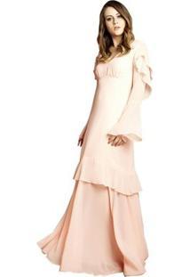 Vestido Izad Musseline Mangas Longas Boca De Sino - Feminino-Rosa Claro
