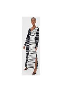 Vestido Tricot Calvin Klein Longo Listrado Preto/Branco