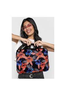 Bolsa Para Notebook Roxy Laptop Connecting Heart Imp Preta/Rosa