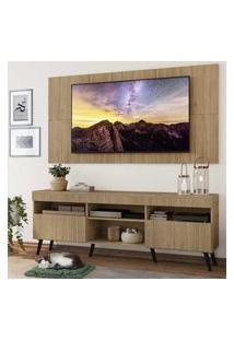 """Rack Com Painel Tv 65"""" Londres Multimóveis Pés Retrô E 2 Portas Rustic/Preto"""