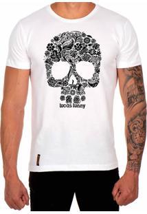 Camiseta Lucas Lunny T Shirt Estampada Caveira Floral Branco