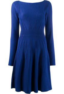 Emporio Armani Vestido De Mangas Longas Com Textura - Azul