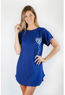 Camisola Gislal Verão Caração Feminino - Feminino-Azul Escuro