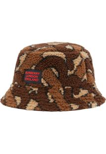 Burberry Monogram Fleece Bucket Hat - Marrom