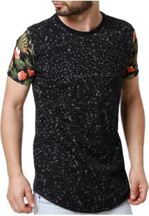 Camiseta Manga Curta Alongada Masculina Preto